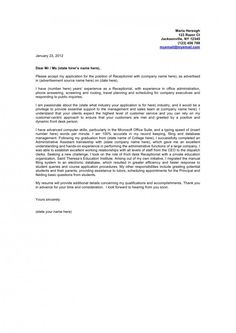 example of resume cover letter for receptionist