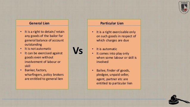 general lien and particular lien with example