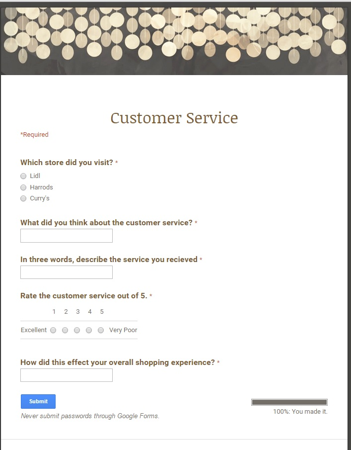 customer service policy example retail