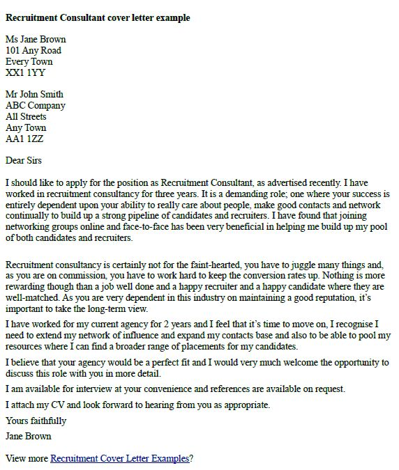 cover letter to recruitment agency example