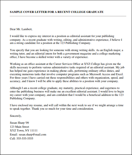 example cover letters for a first job