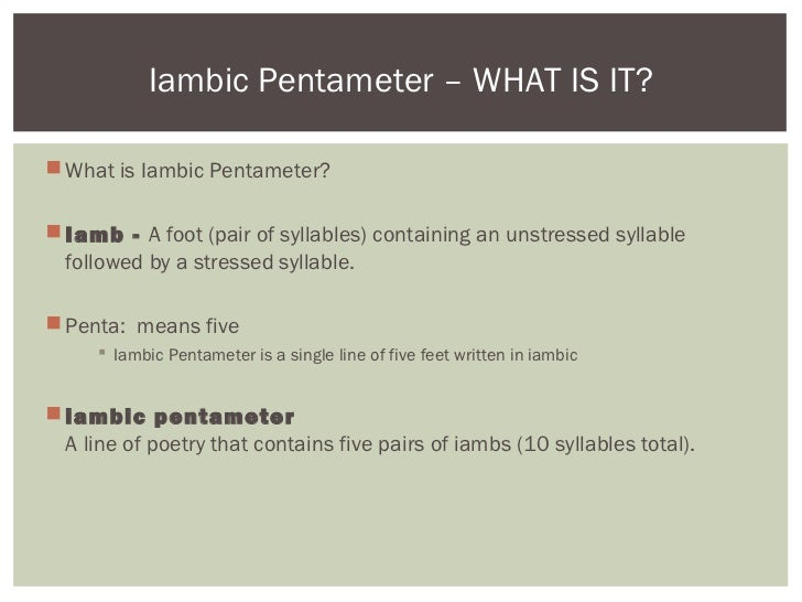 iambic pentameter literary definition and example